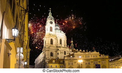 Nicholas Church in Mala Strana or Lesser side and holiday...