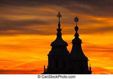 nicholas santo, igreja, em, praga, em, pôr do sol