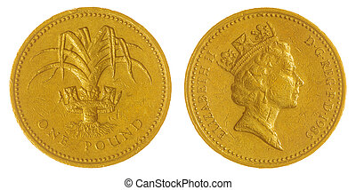 Nickel Brass 1 pound 1985 coin isolated on white background, Great Britain