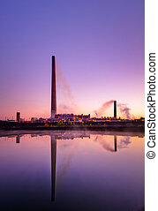 Nickel Plant with sunrise as background