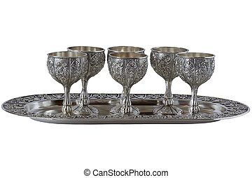 Nickel Silver glasses set on a tray