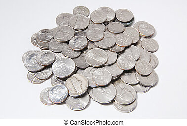 Nickels and Dimes - A pile of nickels and dimes.