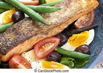 nicoise, 三文魚, 沙拉