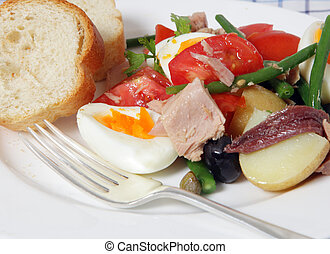 Nicoise salad closeup