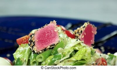 Nicoise salad macro. Seared tuna and fresh vegetables.