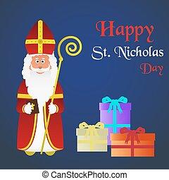 nicolas, eps10, coloré, caractère, vecteur, saint, vacances