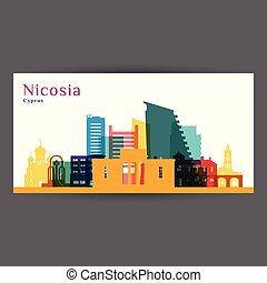 Nicosia city architecture silhouette. Colorful skyline.