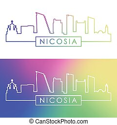 nicosia, linear, skyline., style., bunte