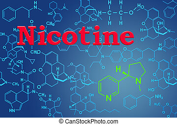 Nicotine. Chemical formula, molecular structure. 3D rendering