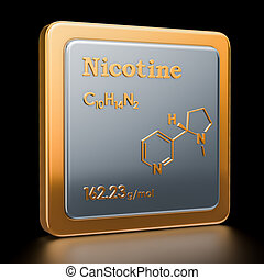 Nicotine. Icon, chemical formula, molecular structure. 3D rendering