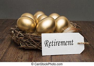 nid, à, doré, oeufs, à, a, étiquette, et, a, mot, retraite,...