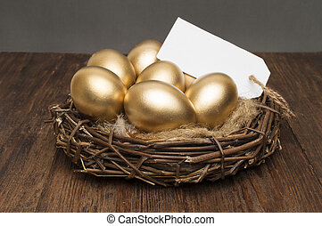 nid, à, doré, oeufs, à, a, étiquette, et, endroit, pour,...