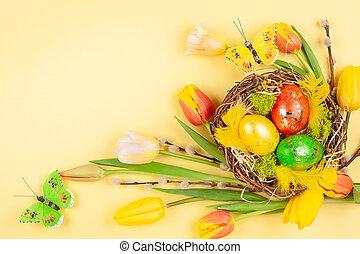 nid, fleurs, paques, printemps, composition, oeufs