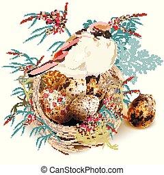 nid, florals, oiseau, réaliste, vecteur, conception, fond, oeufs pâques