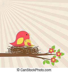 nid, oiseaux, branche, famille, fleurir