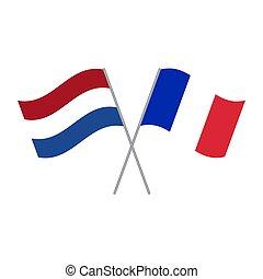 niderlandy, bandery, francja, odizolowany, wektor