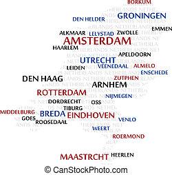 niderlandy, słowo, chmura, mapa