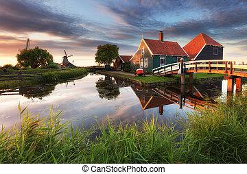 Niderlandy, zaanse, -, schans, Amsterdam, zaandam, wiatrak...