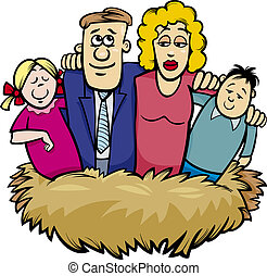 nido, cartone animato, illustrazione, famiglia