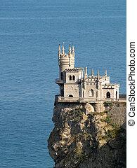 nido, castillo, sideview, golondrina
