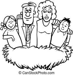 nido, coloritura, cartone animato, famiglia, pagina
