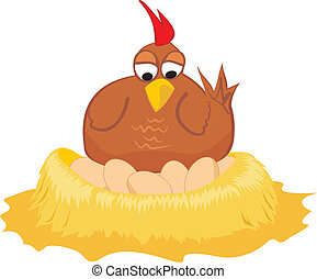 nido, gallina, -, huevos