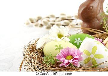 nido, lepre, cioccolato, pasqua, catkins, fiori, uova, foto