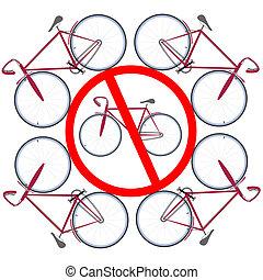 nie, bicycles, tutaj, dozwolony