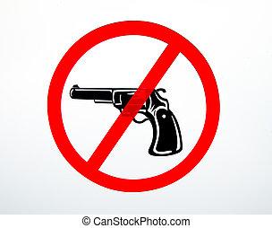 nie, broń, odizolowany, znak, tło, dozwolony, biały