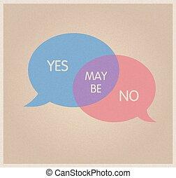 nie, decyzja, tak, maybe., symbol.