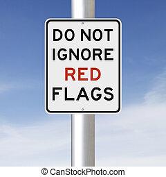 nie, ignorować, bandery, czerwony