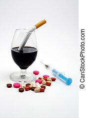 nie, lekarstwa, alkohol, papierosy