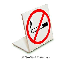 nie, odizolowany, znak, tło, palenie, biały