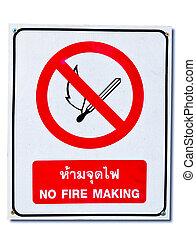 nie, ogień, odizolowany, znak, tło, biały
