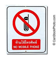 nie, ruchomy, odizolowany, znak, telefon, tło, biały