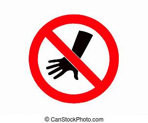 nie, wyrzucanie, odizolowany, ręka, tło, biały, znak