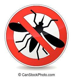nie, znak, moskit, tło, biały, ikona