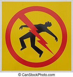 niebezpieczeństwo, stracenie na krześle elektrycznym, znak
