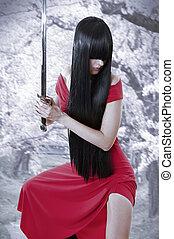 niebezpieczny, płciowy, misterium, asian, girl., anime, styl