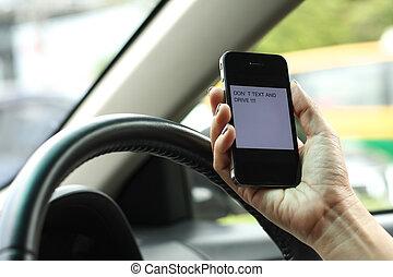 niebezpieczny, texting, telefon, napędowy