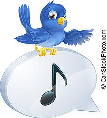 niebieski ptak, piła notują, bańka mowy