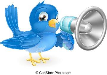 niebieski ptak, z, megafon