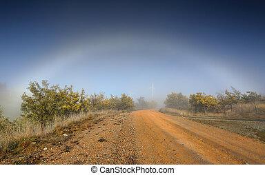 niebla, arco, naturaleza, fenómeno, en, interior, australia