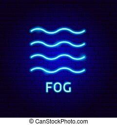 niebla, etiqueta, neón