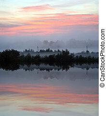 niebla, paisaje, con, salida del sol, encima, lago