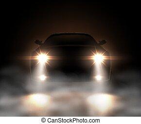 niebla, realista, coche, luces
