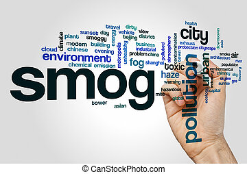 niebla tóxica, concepto, palabra, nube