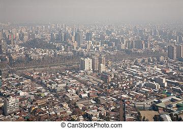 niebla tóxica, encima, santiago, chile, vista, de, cerro,...