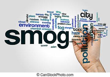 niebla tóxica, palabra, nube, concepto