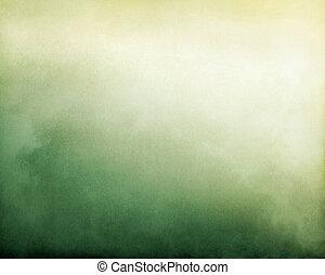 niebla, verde, amarillo